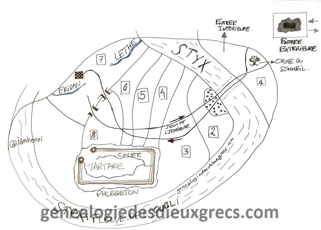 Enfers Mythologie Grecque selon Virgile - genealogie des Dieux grecs